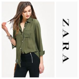 Nwt Zara Olive green button down top  Size Small